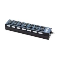 USB Hub 7 port Deluxe DUH7003B, кнопка/индикатором, блок питания