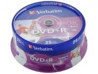 Диск DVD+R Verbatim, 4.7GB, 25шт