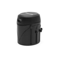 Универсальный адаптер Deluxe DWTAU04B, 4 эл.разъёма, USB, черный