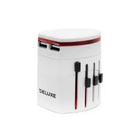 Универсальный адаптер Deluxe DWTAU01W, 4 эл.разъёма, 2USB, белый