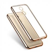 Чехол для Xiaomi Redmi 4a/Silicon/золотой/прозрачный