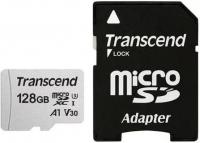 microSD Transcend  128Gb,TS128GUSD300S-A, класс10, (адаптер SD)